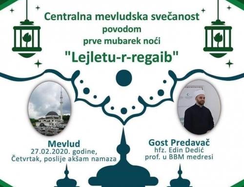 Najava: Mevludska svečanost povodom mubarek noći lejletu-l-regaib